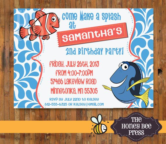 dory finding nemo birthday party invitations