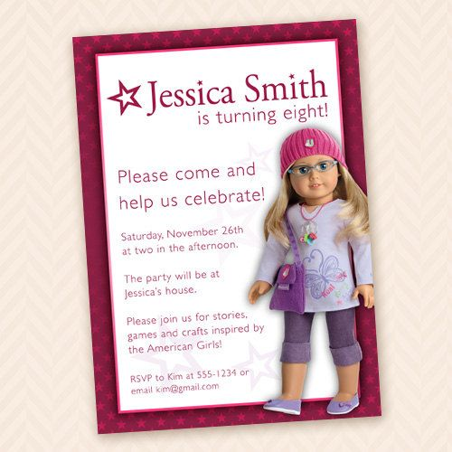 barbie american girl dolls birthday invitations