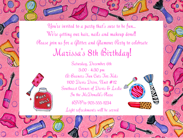 make up invitation for girl birthday party
