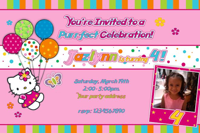 hello kitty photo birthday invitations  u2013 free printable