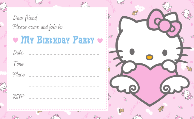 Hello Kitty Printable Birthday Invitations Template – Hello Kitty Printable Birthday Card