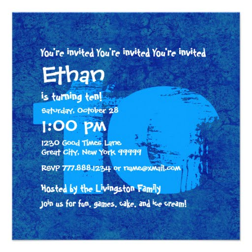 Blue 10th Birthday Party Invitations