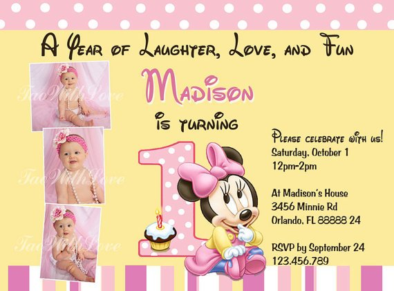 Free Printable Minnie Mouse 1st Birthday Invitations – First Birthday Printable Invitations
