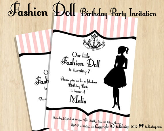 luxurious fashion show birthday party invitations