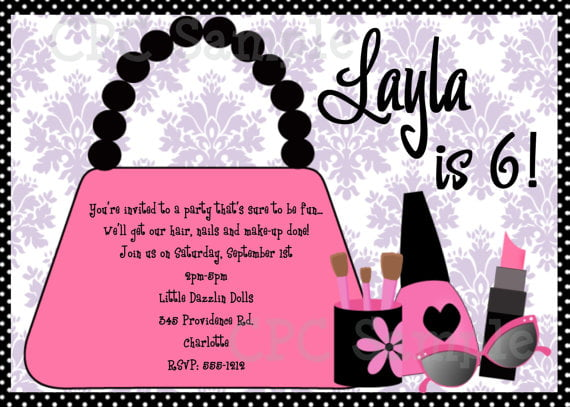 bags invitations for girl birthday party
