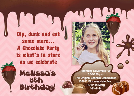 chocolate invitations for a birthday party