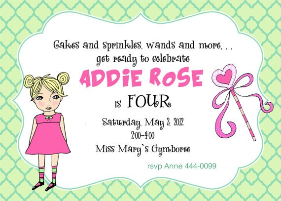 girl 4th birthday party invitations wording