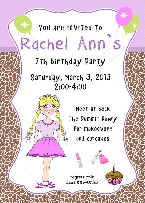 7th Birthday Party Invitation Wording FREE Invitation Templates