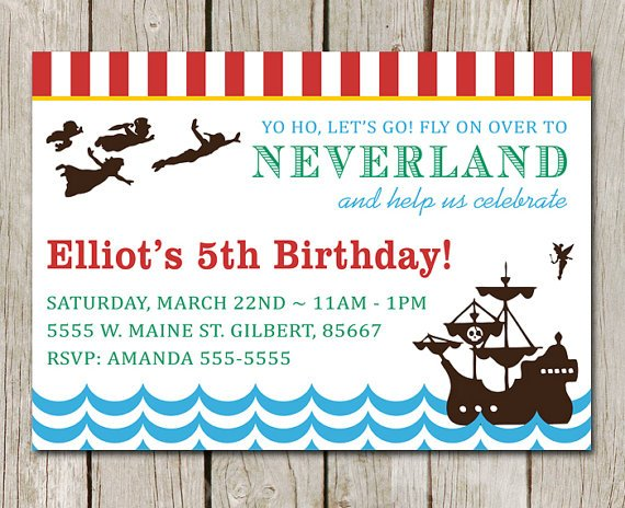 Free printable peter pan birthday party invitations for Peter pan invitation template