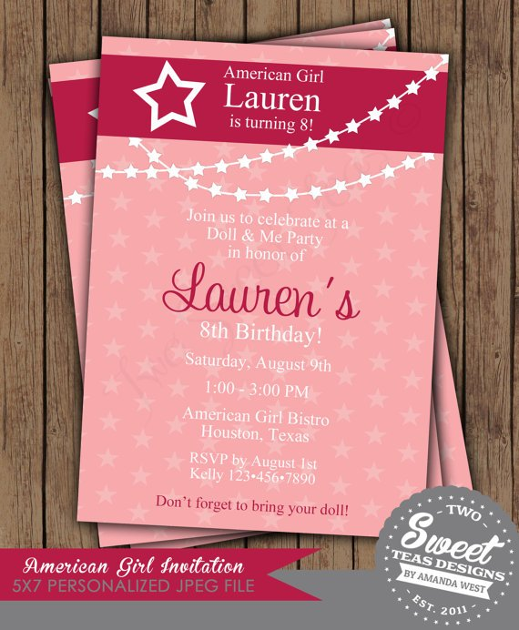 pink american girl dolls birthday invitations