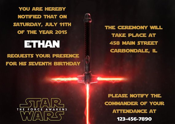 star wars birthday card promo