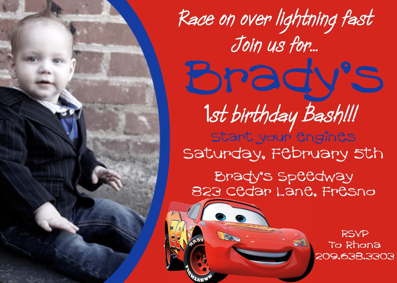 FREE Printable Disney Cars Birthday Party Invitations Template