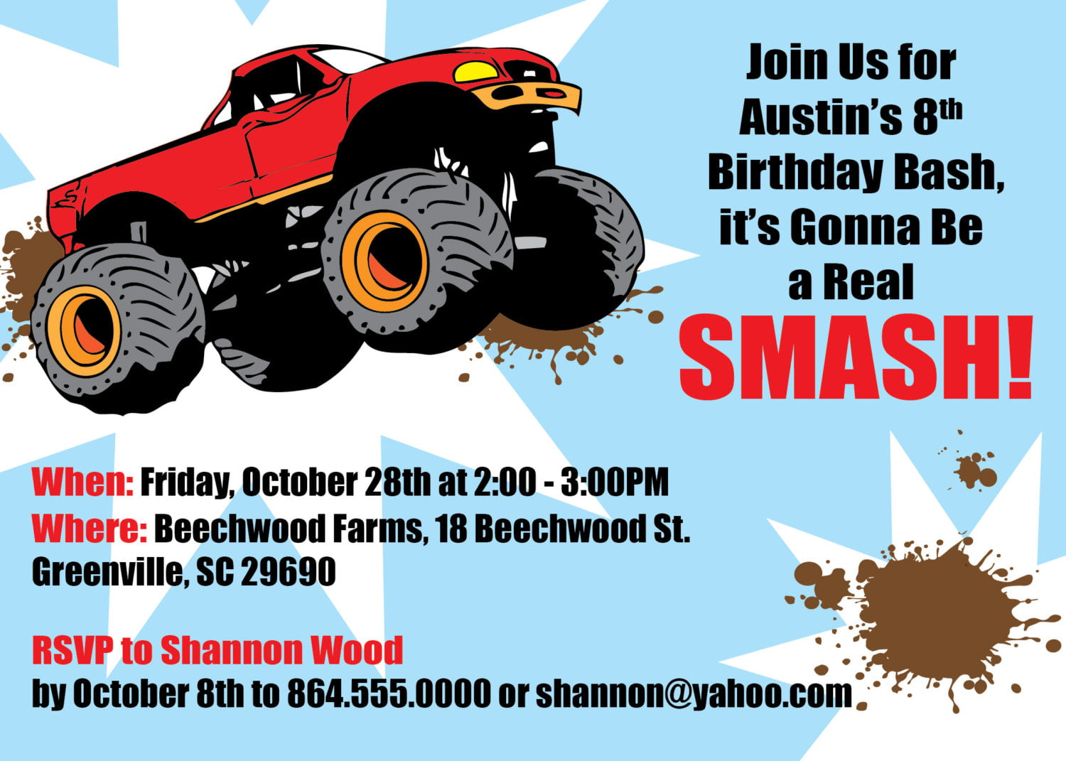Free Printable Monster Truck Birthday Invitations | Drevio ...