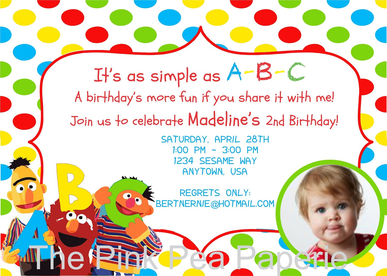Colorful Sesame Street Photo Birthday Invitations