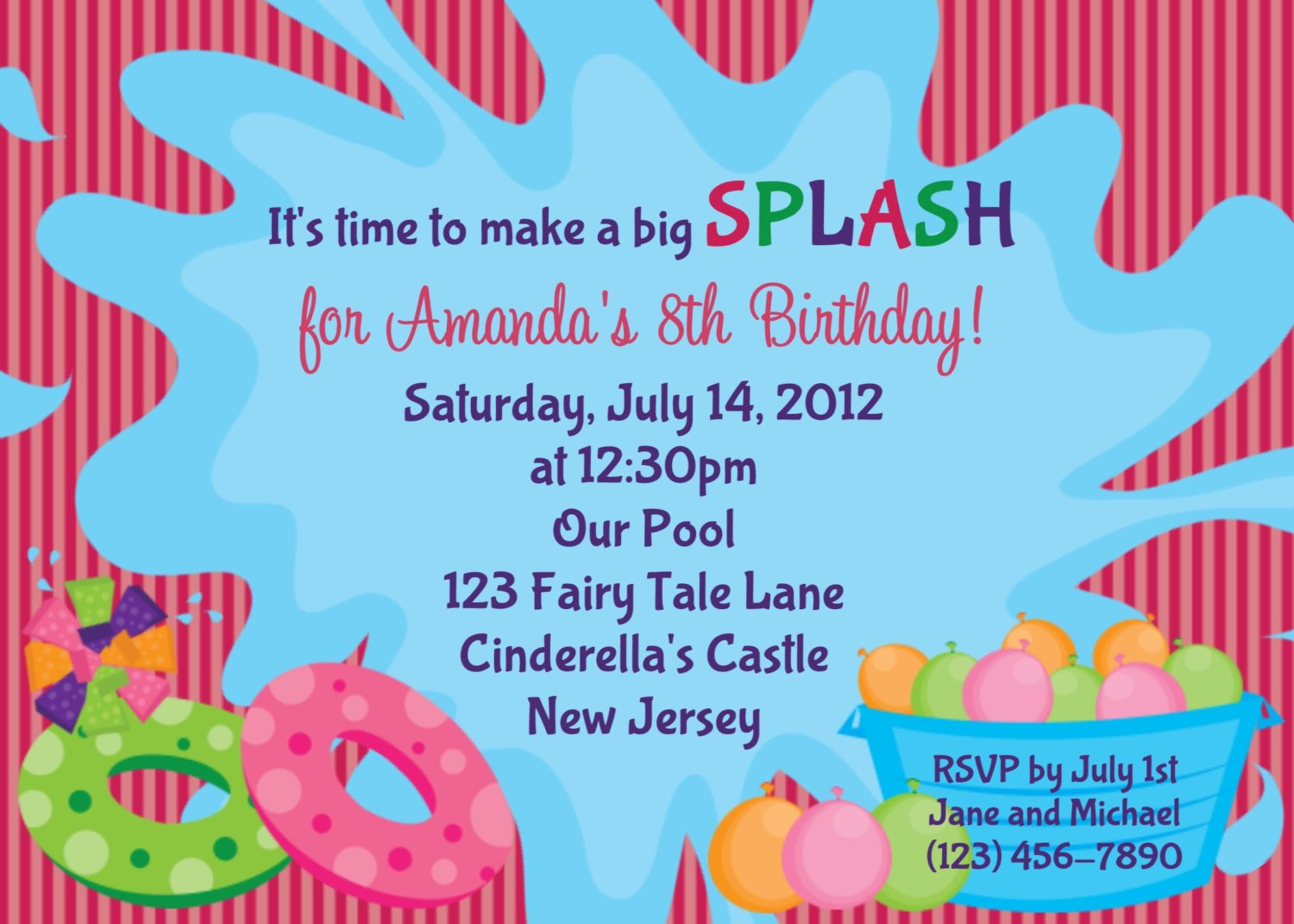 Pool Party Birthday Party Invitations Templates Free Download – Birthday Pool Party Invitation