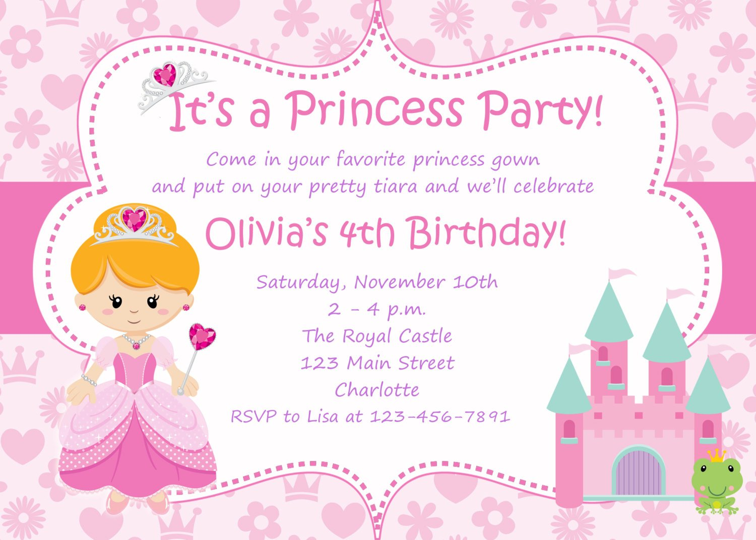 Princess Birthday Party Invitations Wording – Cinderella Birthday Invitation Wording