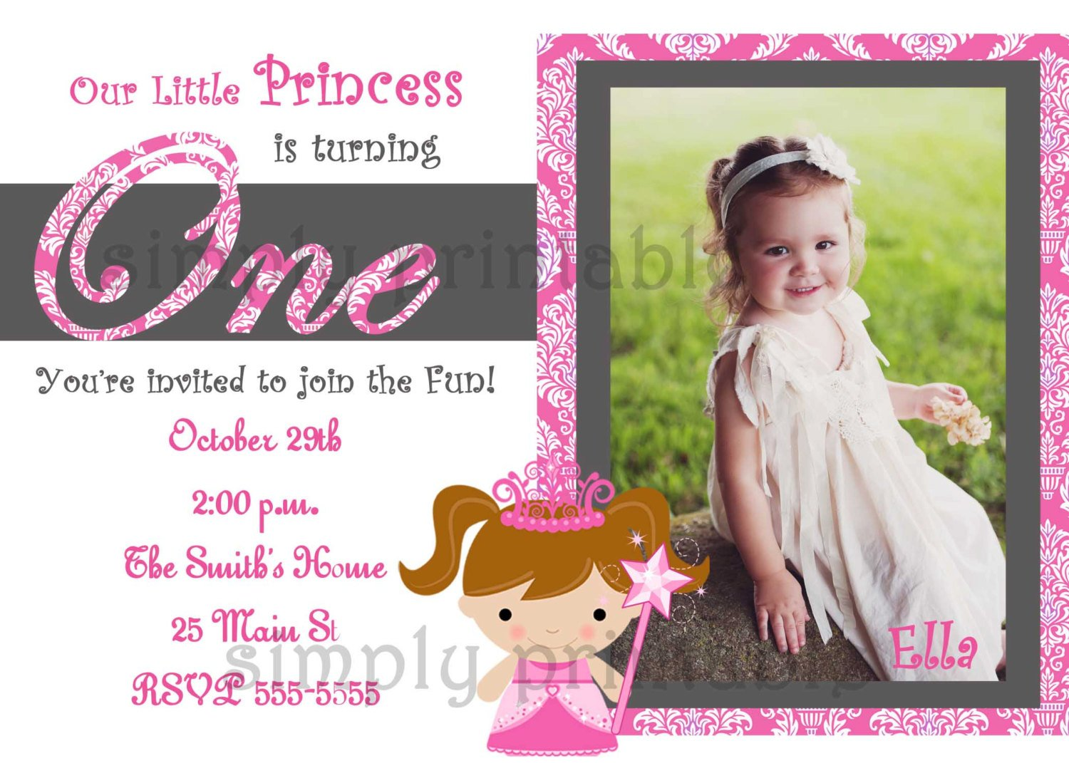 1st birthday party invitations template for girl drevio princess 1st birthday party invitations girl stopboris Image collections