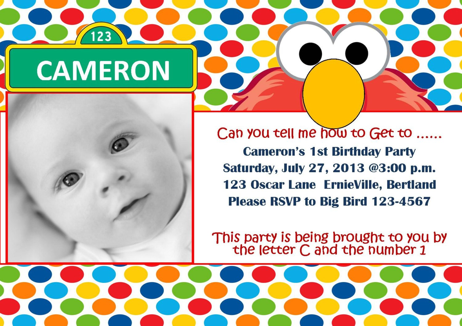 elmo 1st birthday invitations pictures