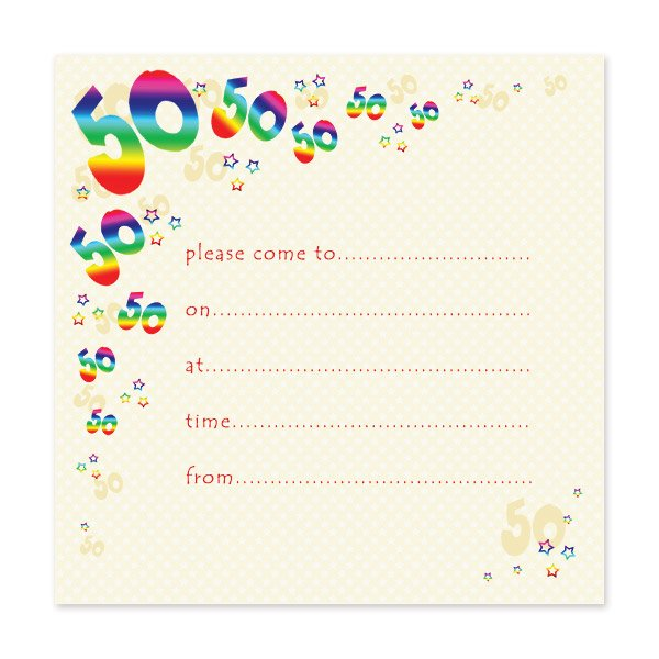 50th Birthday Party Invitation Template Colorful  Birthday Party Card Template