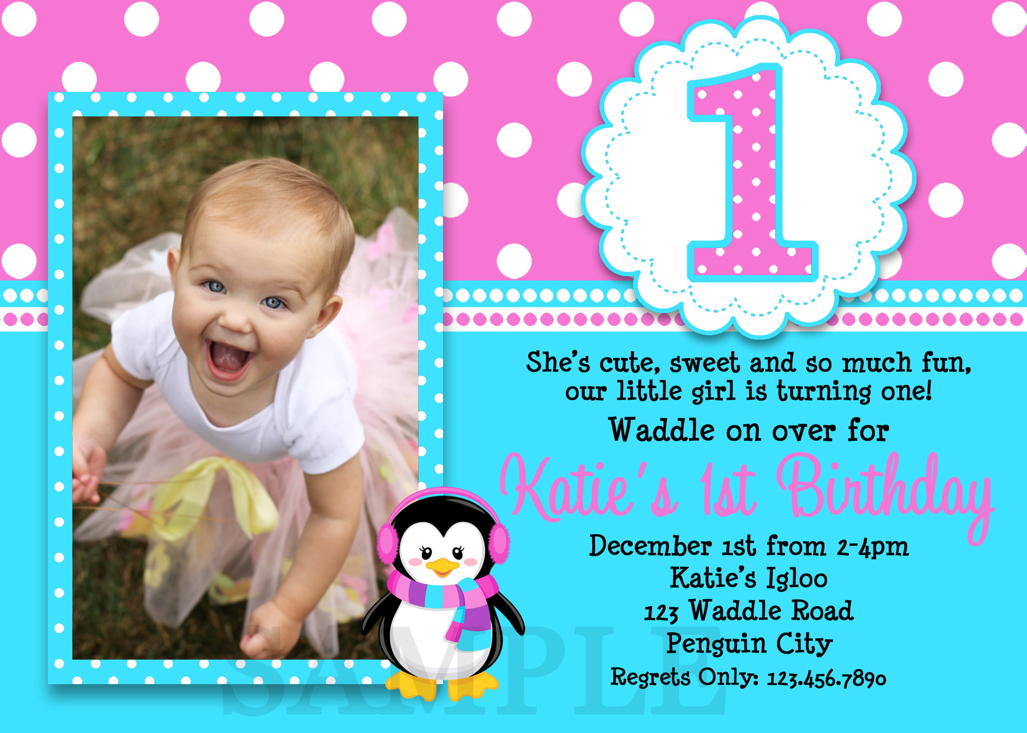 blue pink 1st birthday party invitations girl