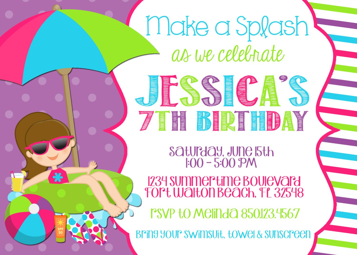 Pool Birthday Party Invitations Templates Free Download