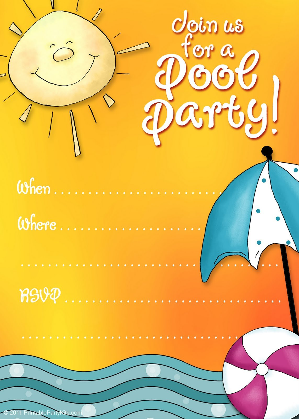 Pool Party Birthday Party Invitations Templates Free Download FREE