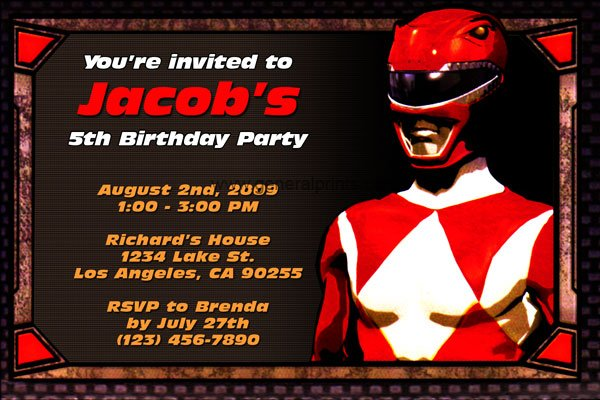 red first birthday party invitations boy