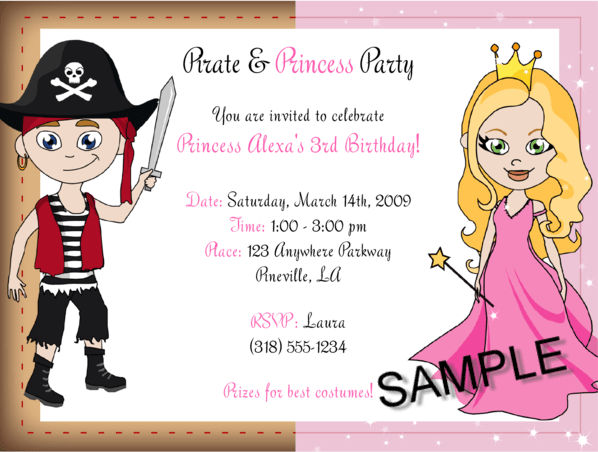 Wording for birthday party invitations drevio invitations design princess and pirates birthday party invitations stopboris Choice Image