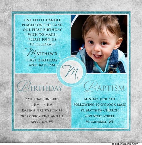 FREE Printable First Birthday and Baptism Invitation ...