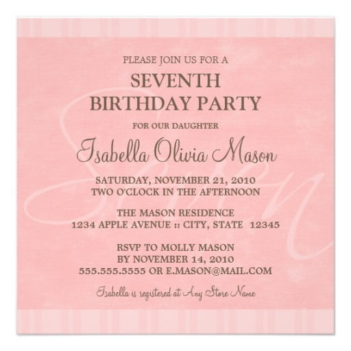 Square 7th Birthday Invitation Wording