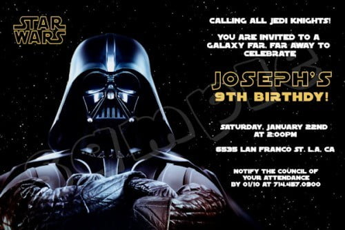 star wars darth vader birthday invitation card