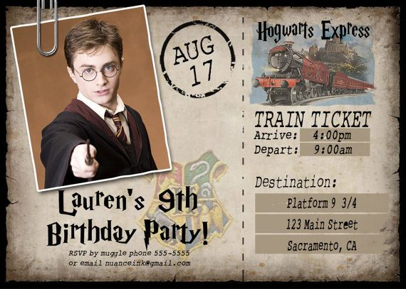 train ticket harry potter birthday invitations printable