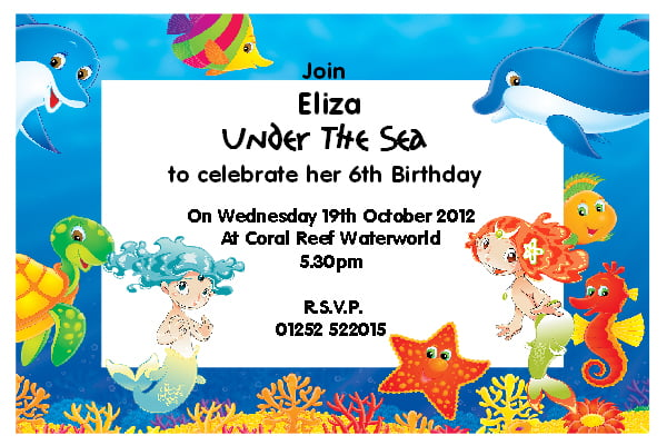 starfish under the sea birthday party invitations