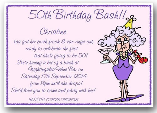 Funny 50th Birthday Invitations Wording Ideas | Drevio ...