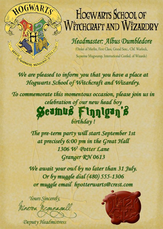 Harry Potter Invites for beautiful invitations example