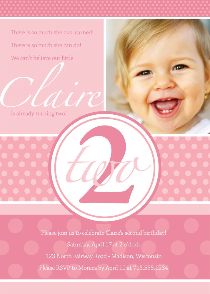 Pink 2 Years Old Birthday Party Invitations Wording
