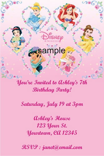 Personalized Disney Princess Birthday Party Invitations Card