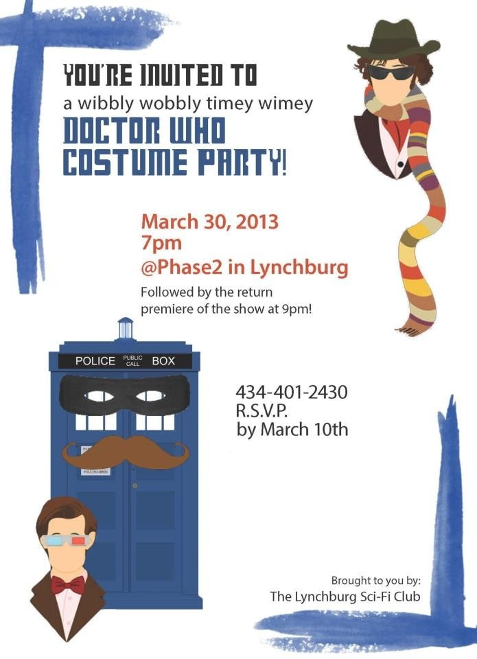 cartoon doctor who birthday party invitations