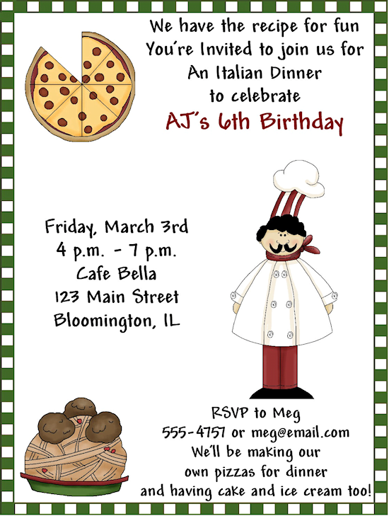 Pizza Birthday Dinner Party Invitations Wording