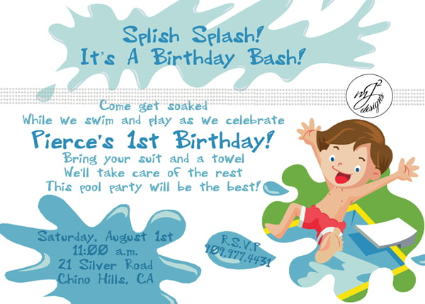 FREE Printable 1st Birthday Pool Party Invitations Template – Pool Party Invitation Templates Free Printable