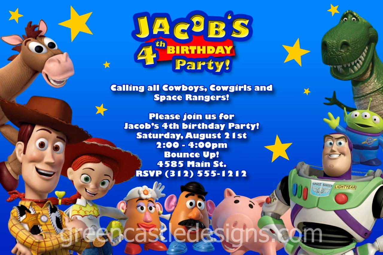 rex personalized toy story birthday invitations