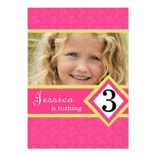 Pink 3 Years Old Birthday Invitations Wording