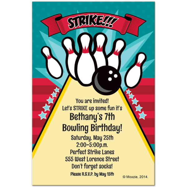 Arena Free Printable Bowling Birthday Invitations