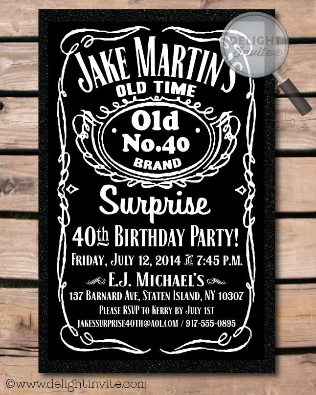 Beer Logo 40th Birthday Party Invitations Wording
