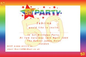 Colorful 50th Birthday Invitations Wording Ideas