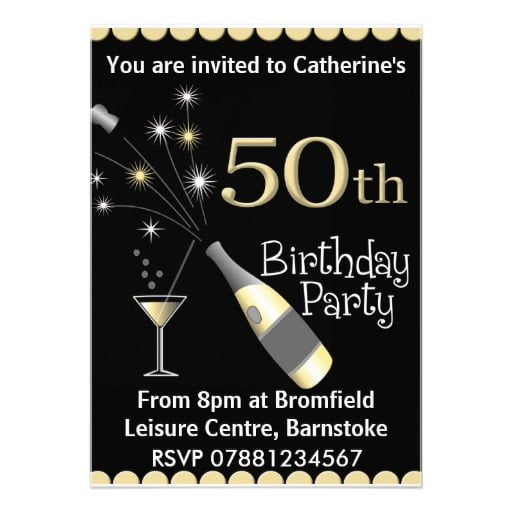 Bottles 50th Birthday Invitations Wording Samples