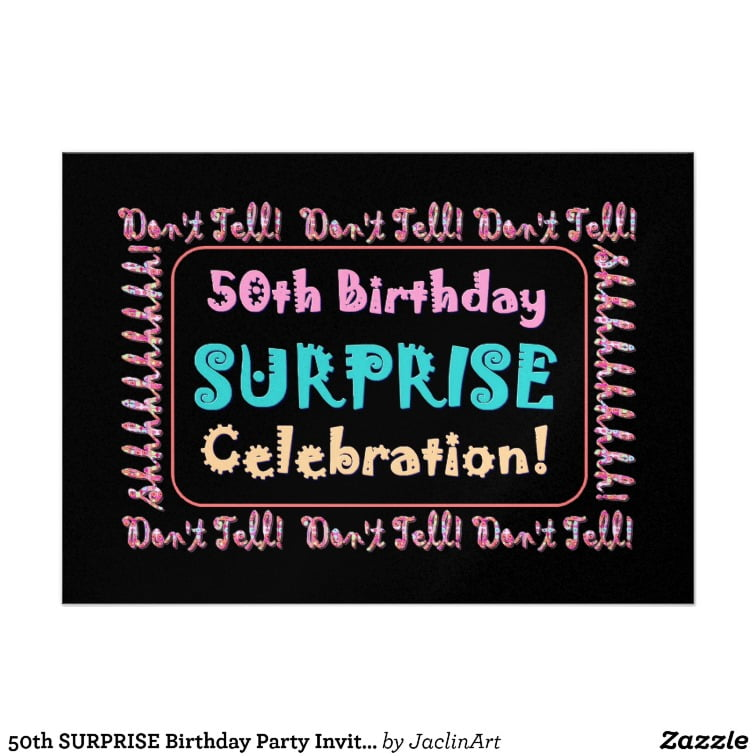 50th Birthday Surprise Party Invitations | Drevio Invitations Design