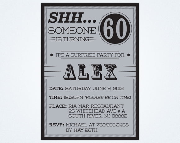 Plain Surprise 60th Birthday Party Invitations Wording