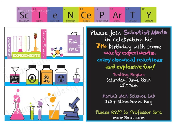 FREE Printable Mad Science Birthday Party Invitations Ideas – Mad Scientist Birthday Party Invitations