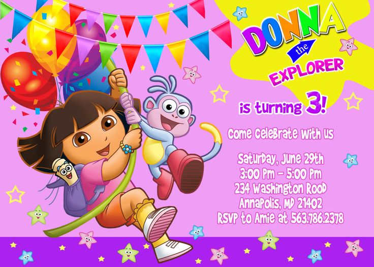 FREE Printable Dora the Explorer Birthday Party Invitations Design